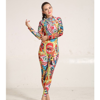 2017 Outdoor Warm Sun UV Protection Wetsuit Printed One Piece Wet Suit Women Long Sleeve 3mm Neoprene Surf Diving Suits