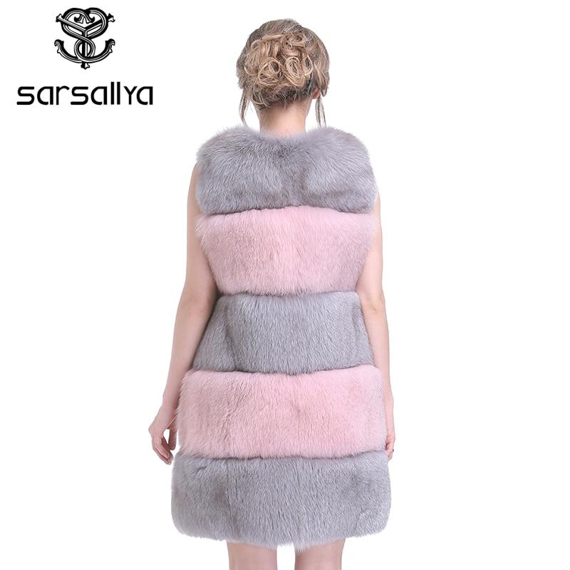 Renard Pardessus Sarsallya Fourrure Rayé En Style Réel Vêtements Veste Mode Femmes Nouvelles D'extérieur D'hiver De Multi WD9EHIe2Y