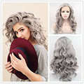 Synthetic Invisible Part Silver Wig 100% Fiber Gray Hair Long Wavy Lace Front Wigs for Women Half Hand Tied Heat Resistant