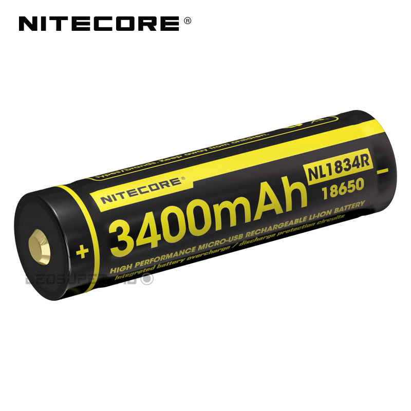 Hot Sale Nitecore NL1834R 3400mAh Micro-USB 18650 Li-ion Rechargeable Battery With Charging Port