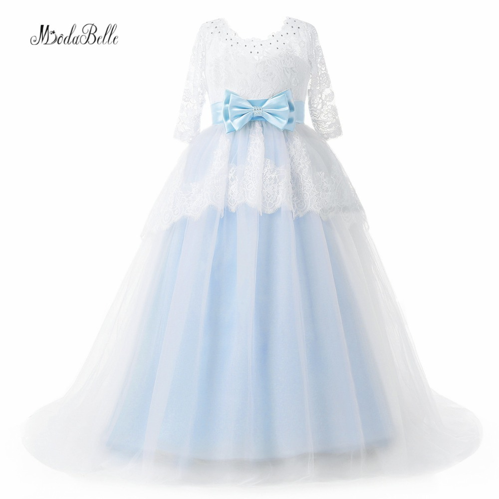 Modabelle Light Blue Flower Girl Dresses With Sleeve Lace Kids