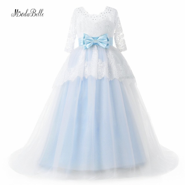 e92c672b576f modabelle Light Blue Flower Girl Dresses With Sleeve Lace Kids Occasion  Dresses Abiti Prima Comunione Bows Pageant Gowns 2018