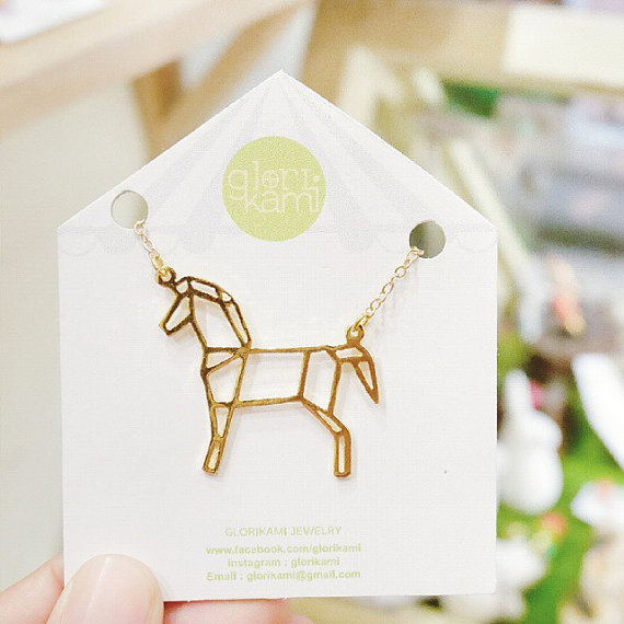 New Trendy Gold Silver Horse Origami Necklace Animal Pendant Hunger Games Necklace Women Best Friend