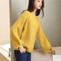 The fall of 53 new loose sleeves sweater Womens bottoming shirt F2028