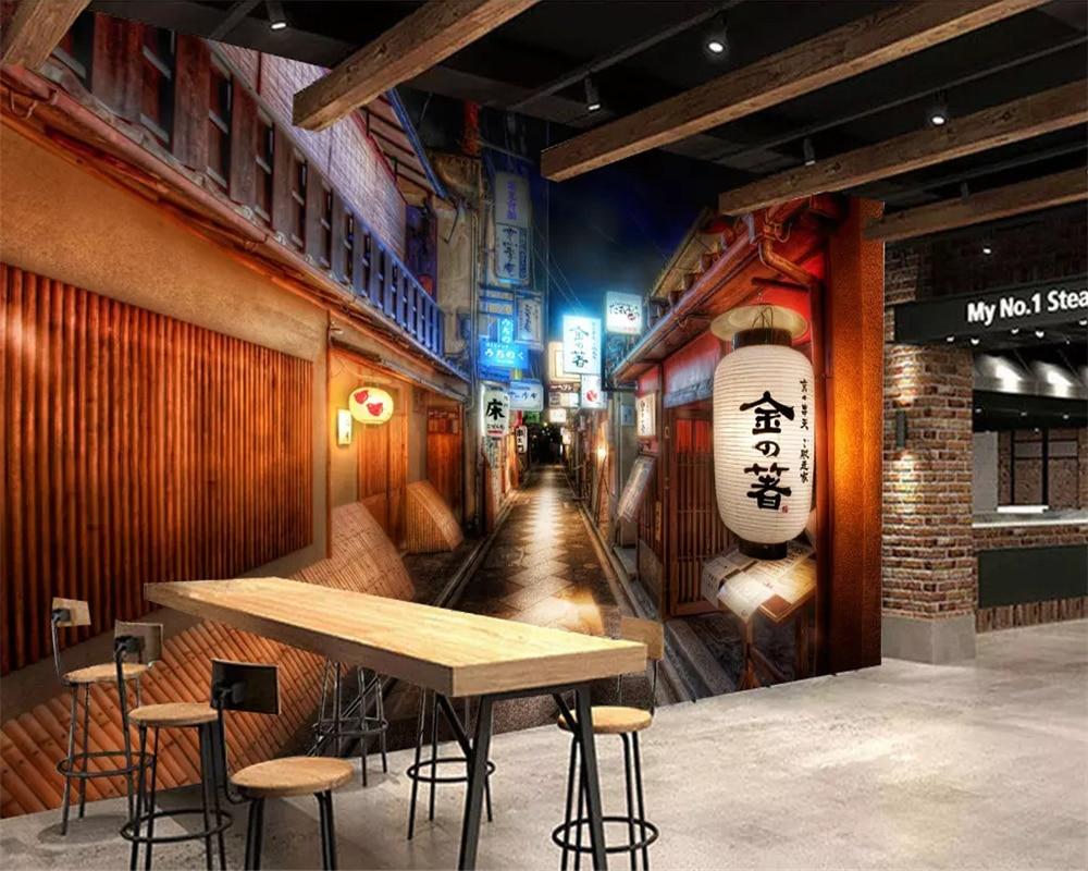 beibehang Custom kitchen wallpaper retro street japanese ...