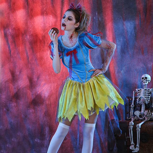 Sexy Woman School Girl Zombie Role Play Halloween Costume Cosplay Sexy Dead Club Party -7326