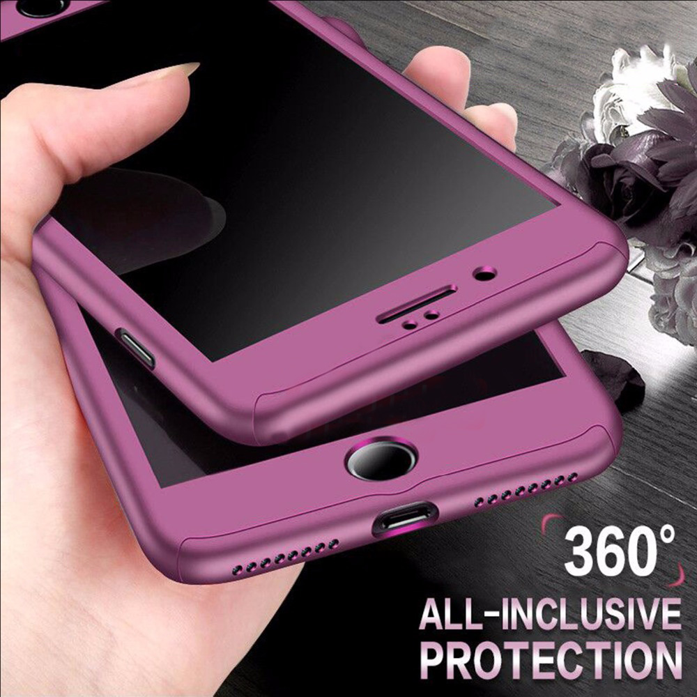 JRQITO 360 Full Cover Phone Case For iPhone 7 8 6 6s Plus With Tempered Glass Luxury Protection Case For iPhone 6 8 7 Plus Cover