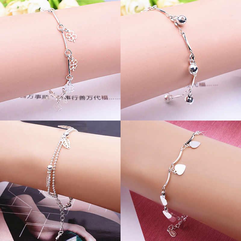W nowym stylu tłoczona srebrna bransoletka powlekana czterolistna koniczyna Charm bransoletka i bransoletka dla kobiet Wedding Party biżuteria prezenty
