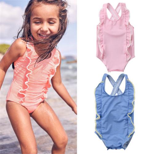 USA Toddler Kids Baby Girls Striped Bikini Swimwear Swimsuit Bathing Suit Beach