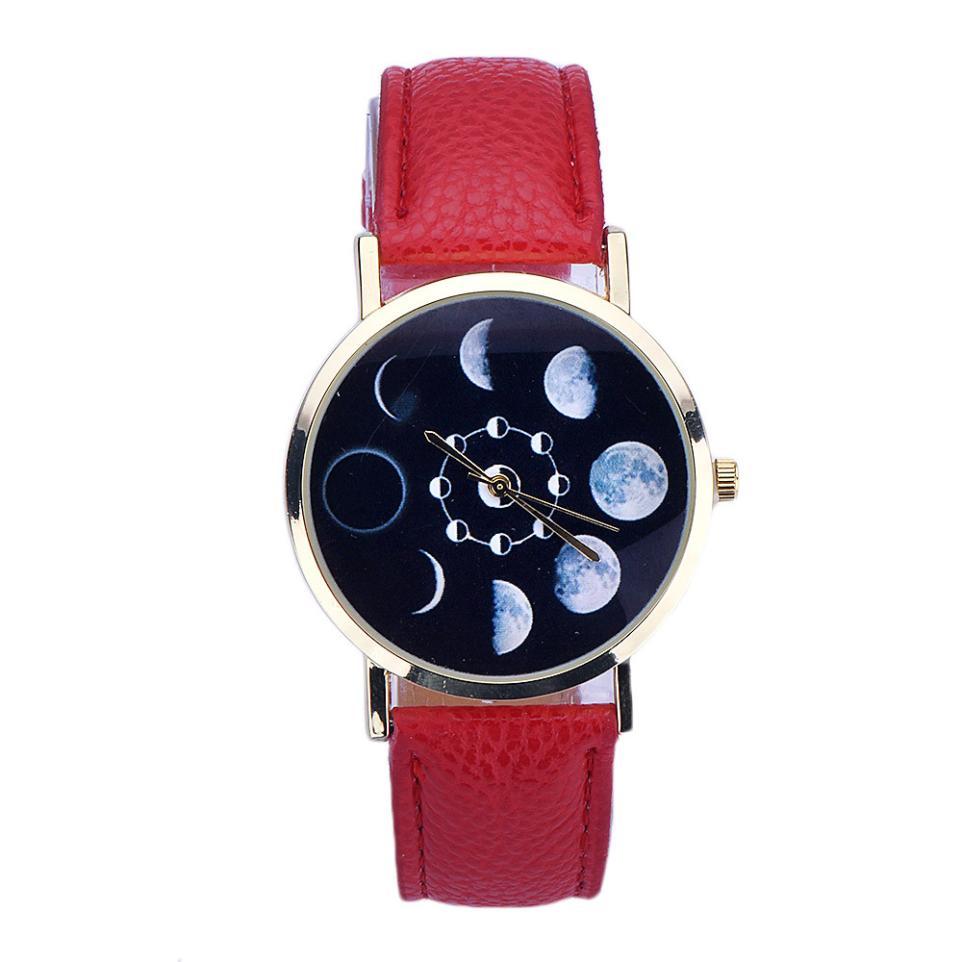 Clock women 2018 Fashion Lunar Eclipse Pattern Leather Analog Casual Sport daily Rerto Quartz Wrist Watch montre femme f60