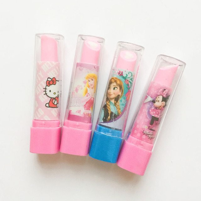 568da5a75 1PC Hello Kitty Mouse Princess Lipstick Design Eraser Rubber Erasers  Correction School Office Supply Student Stationery