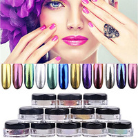 12pcs Colorful Glitter Nails Powder With Double Head Powder Brush Magic Mirror Chrome Effect Dust Shimmer