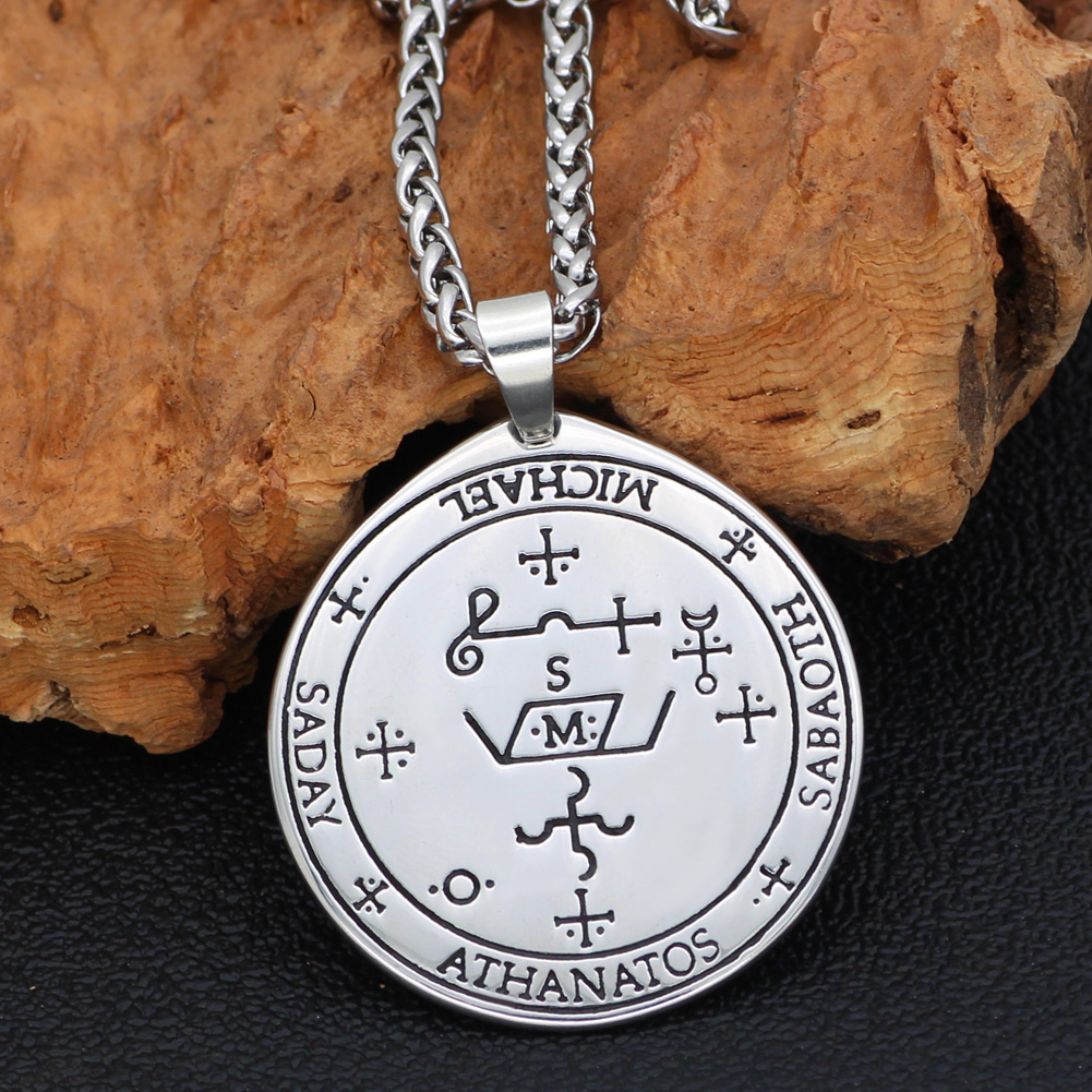 Talisman Pentacle of Solomon Seal Wiccan Pagan Hermetic Enochian Kabbalah Pendant necklace Stainless steel