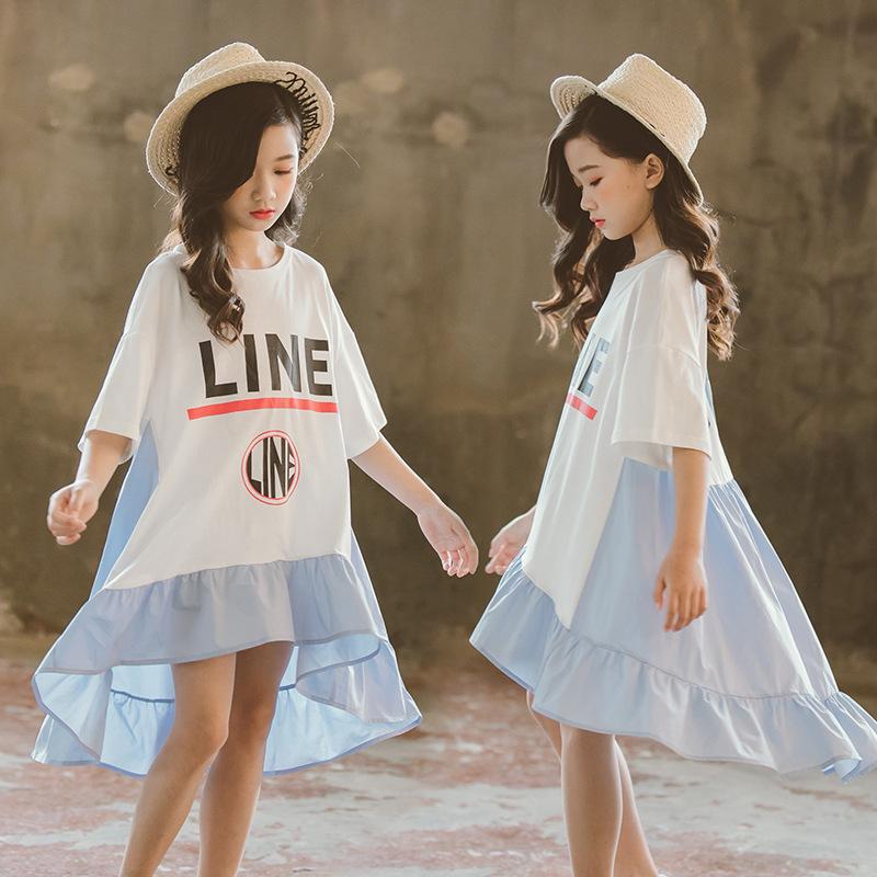 2019 Summer Teen Girls Children Dress Patchwork Asymmetrical Letter Kids Dresses for Girls Clothes Kids Costume 12 13 14 Year
