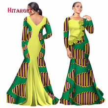 Hitarget 2017 Bazin Riche African Dresses for Woman Print Splice O Neck Mermaid Backless Dashiki Clothes WY2105