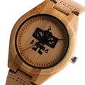 Hecho a mano de Madera de La Naturaleza de Los Niños Reloj de La Manera Robot Simple Moderna Correa Analógica Relojes de Pulsera Banda de Cuero Genuino Reloj De Bambú