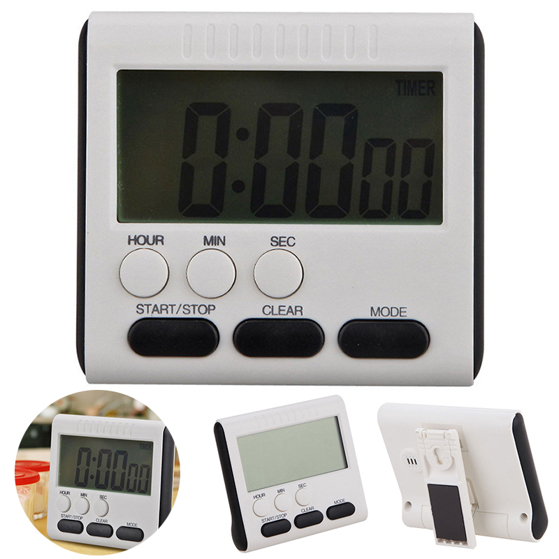 Practical LCD Digital Timer Kitchen Cooking Timer Count Up Down Clock to 24 Hour Alarm Clock Powered by AAA battery 78x73x25MM