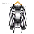 Long Sleeve Knitted Blouse Women Jackets Striped Asymmetric Length Coats Peplum Female Cardigan Open Stitch Batwing Sleeve Loose