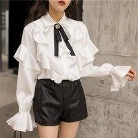 2019 women shirts summer fashion vintage bow satin womens blouses spring Joker shirt Korean version women tops sweet lolita