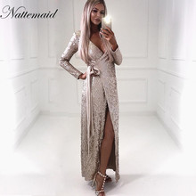 NATTEMAID Sexy women Sequin Maxi Dresses Long Sleeve Bodycon Deep V Neck Split Autumn Elegant Long Dresses Party Club Vestidos