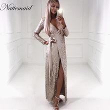 a401ef31 NATTEMAID Sexy women Sequin Maxi Dresses Long Sleeve Bodycon Deep V Neck  Split Autumn Elegant Long Dresses Party Club Vestidos