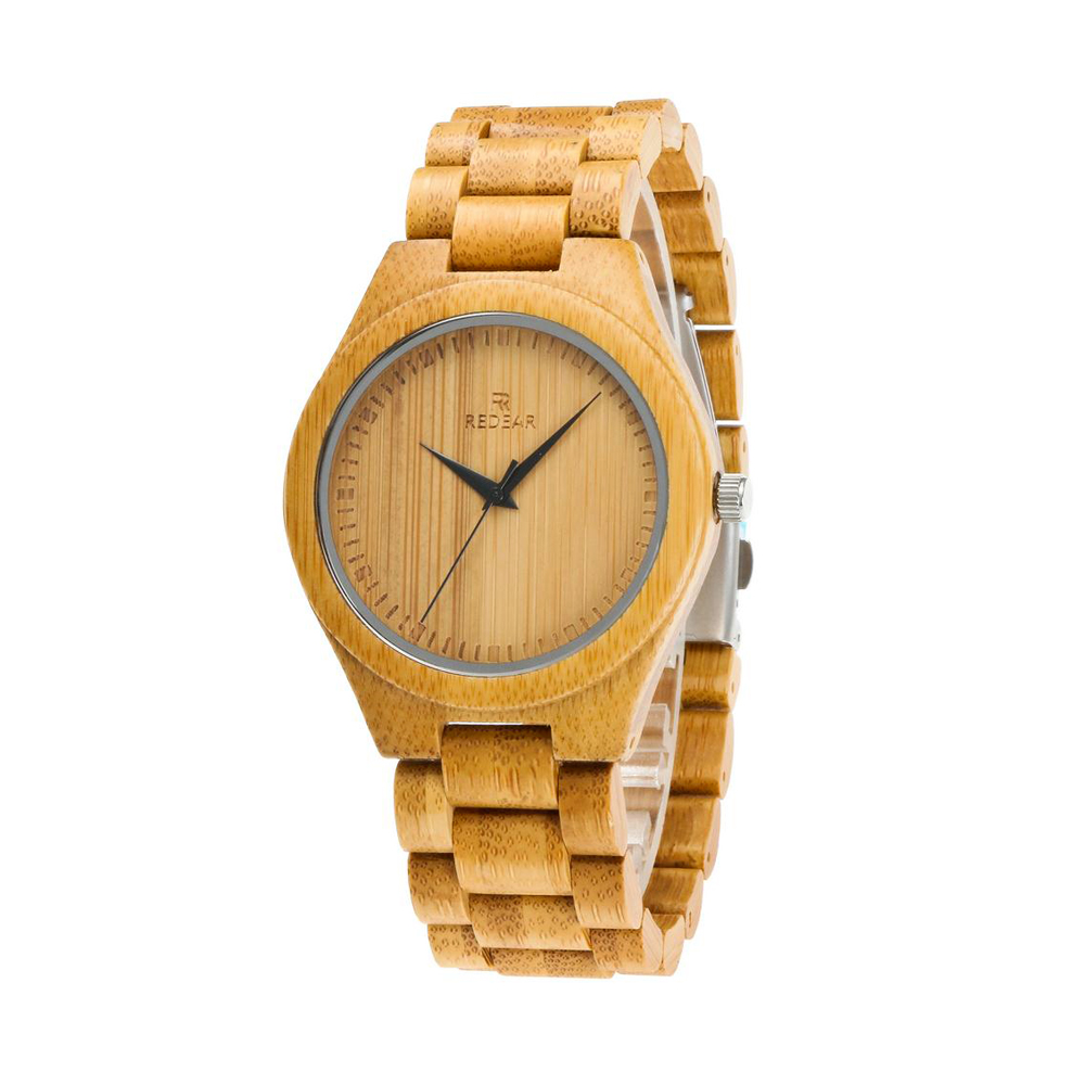REDEAR Watch Men Bamboo Women Ladies Lover's Luxury To Quartz Wood-Band Natural-Color