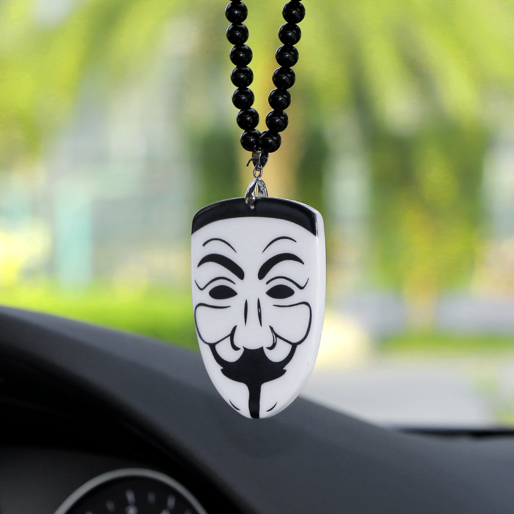 Car Pendant Acrylic V for Vendetta Mask Badge Automobile Decoration JDM Auto Rearview Mirror Charms Ornament Necklace Hip Hop car pendant cute helmet rearview mirror hanging for game of thrones cartoon automobile interior decoration ornament accessories