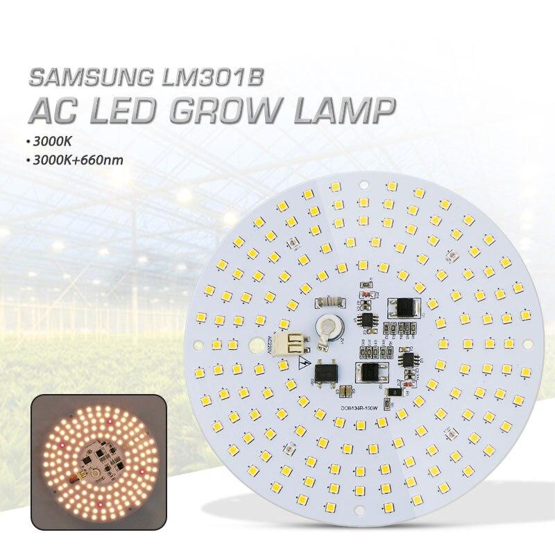 100W Driverless AC Led Grow Light Quantum Board Full Spectrum Samsung LM301B 3000K 660nm Red DIY LED Plant Light For Plant