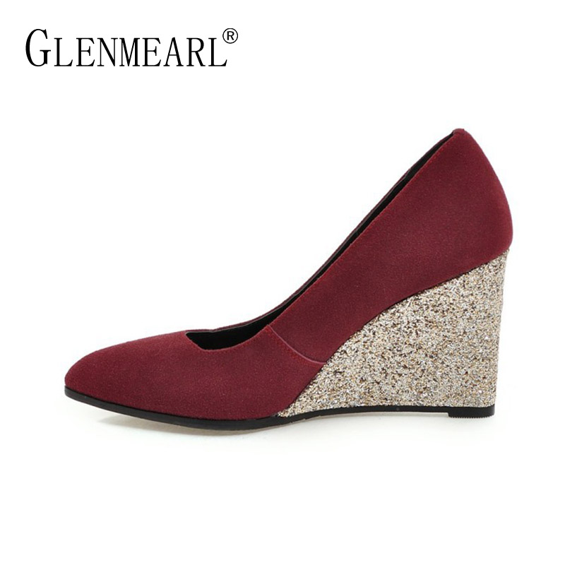 все цены на Fashion Women Pumps High Heels Shoes Spring Wedges Heels Pointed Toe Dress Shoes Woman Single Bling Party Pumps Female Brand DE онлайн
