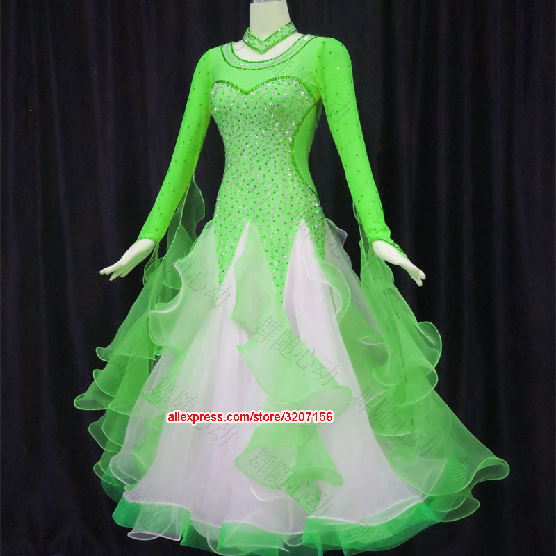 Green. yellow ballroom dance dress competition waltz dress tango dancing wear standard dance costume foxtrot dancewear