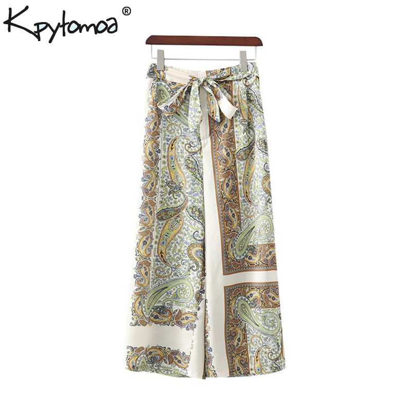 Vintage Stylish Paisley Print   Wide     Leg     Pants   Women 2019 Fashion Elastic Waist Sashes Slit Calf Trousers Casual Pantalones Mujer