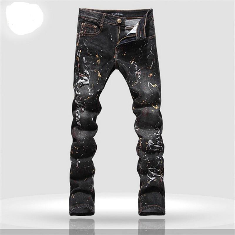 font b men b font font b jeans b font brand 2016 printed denim joggers