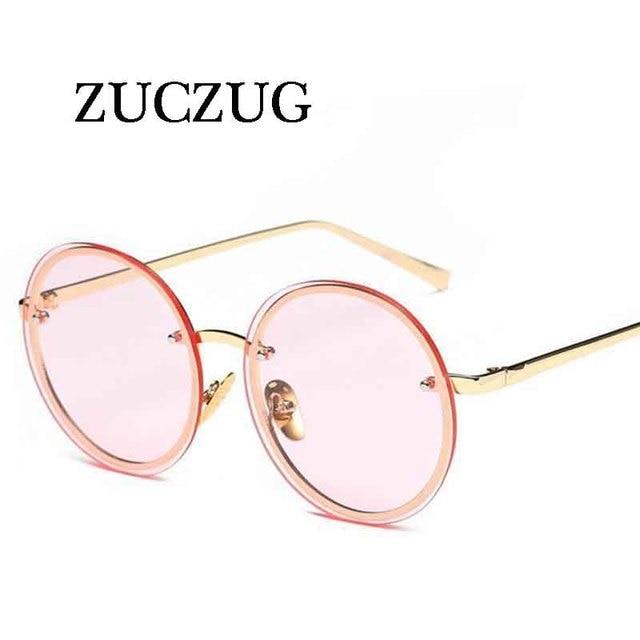 f12405f9061d9e ZUCZUG 2017 Surdimensionné Ronde lunettes de Soleil Femmes Marque Designer  Vintage lunettes de Soleil Dame De
