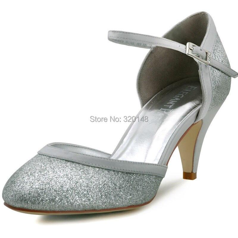 Woman Silver Round Toe Buckle Glitter Mid Heel Bride Bridesmaid ...