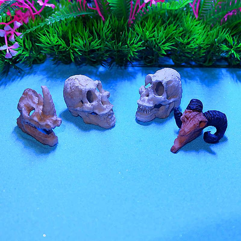 Bể Cá Cảnh Nghệ Tê Giác Sheepshead Nhựa Đầu Lâu Terrarium Trang Trí Bể Cá Mô Phỏng Tượng Phong Cảnh Động Vật Bò Sát Động Nhà