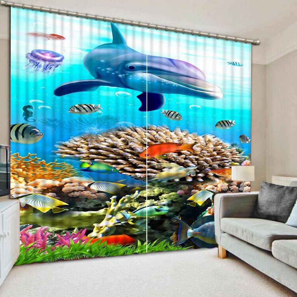 3D וילונות custom דולפין cortinas לסלון חדר שינה מטבח וילונות blackout וילונות