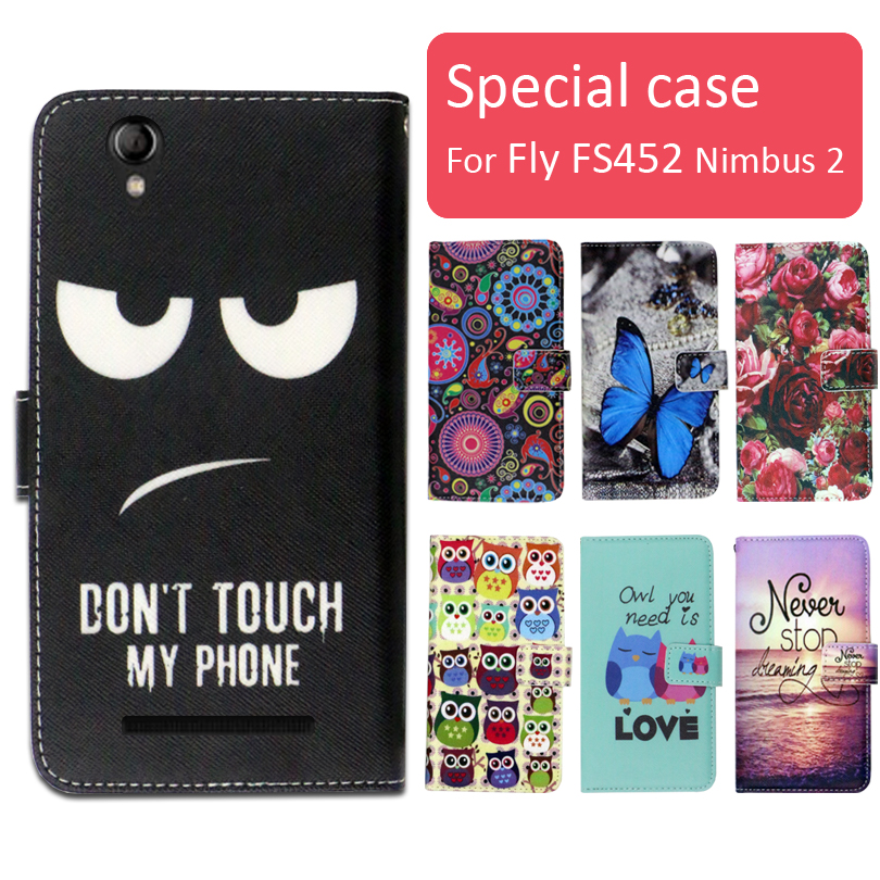 Fashion cartoon printed flip wallet leather case for Fly FS452 Nimbus 2 phone bag book case,free gift