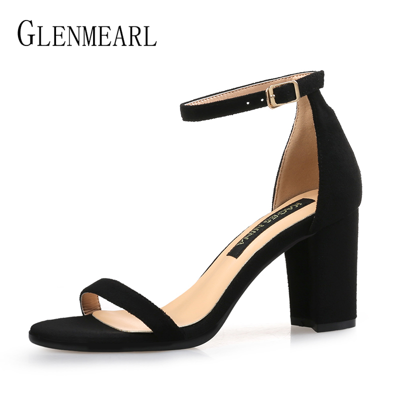 где купить Sandals Woman Summer Shoes High Heels Brand Open Toes Ankle Strap Buckle Women Sandals Plus Size Thick Heels Black Party ShoesDE по лучшей цене