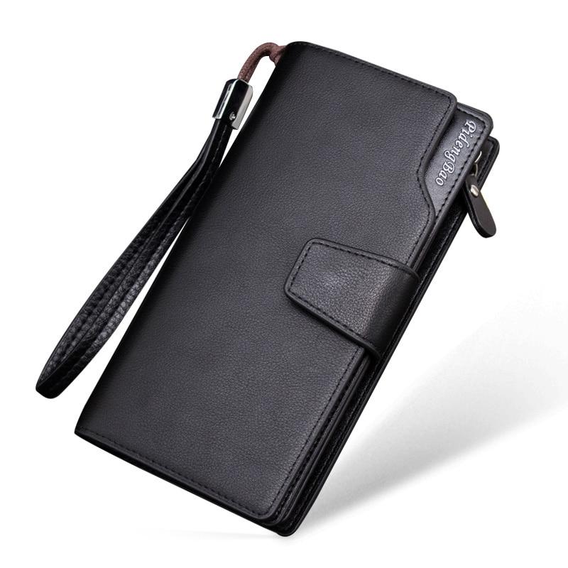 luxus férfi pénztárcák minőségi PU bőr hosszú tengelykapcsoló pénztárca szervező kártya tulajdonosa divat márka pénztárca cipzár tervező pénzt zseb