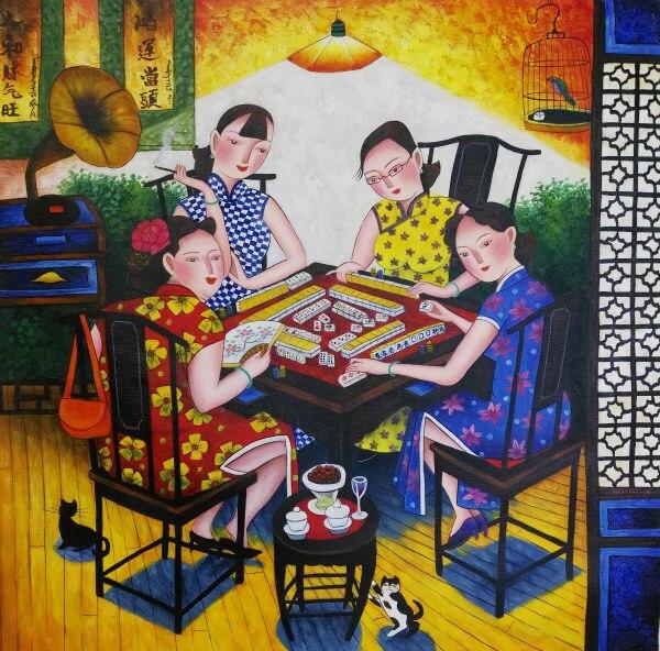 손으로 그린 고품질 캔버스 그림 중국 스타일의 그림 캔버스 벽 예술 그림 거실