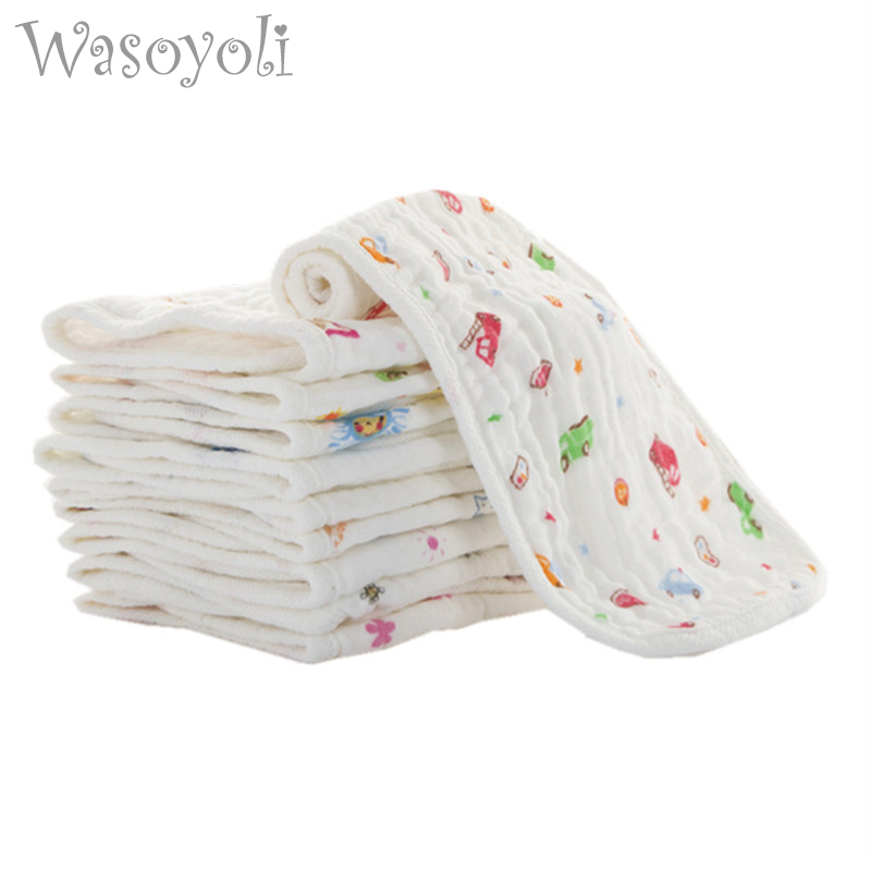 1 stk Wasoyoli 100% Muslin Cotton Seersckuer 6 Lag Burp Cloths 15x45cm Myk lommetørkle Spedbarn Feeding Bathing Face Washing