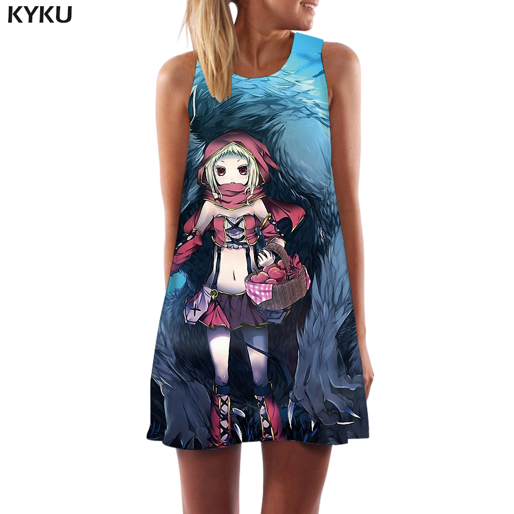 KYKU Brand Wolf Dress Women Animal Korean Style Green Office Harajuku Party Gothic Short Womens Clothing Vintage Ladies Cool in Dresses from Women 39 s Clothing