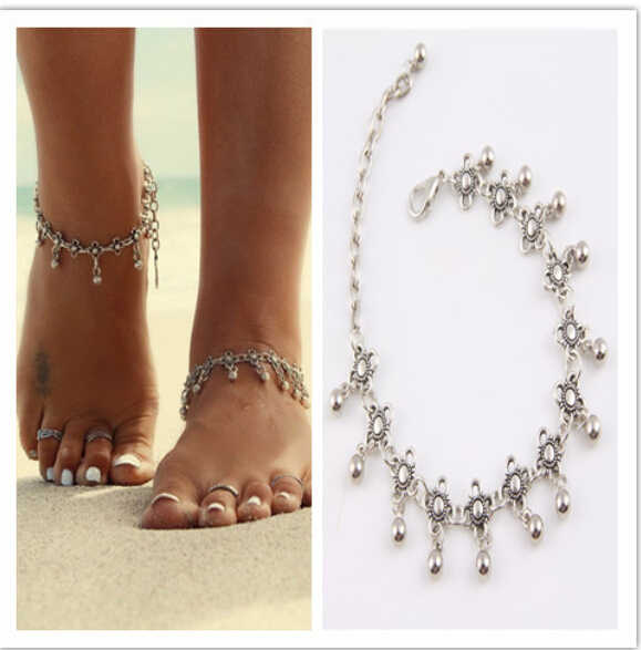 Hot 1PC Charm Anklets for Women Vintage Foot Jewelry Ancient Silver Plated Flower Ankle Chain Bracelet