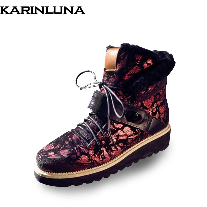 KARINLUNA Winter New Arrival Fashion Mix Color Velvet Platform Snow Boots Lace-Up Warm Fur Women Shoes Large Size 34-43 2016 winter new soft bottom solid color baby shoes for little boys and girls plus velvet warm baby toddler shoes free shipping