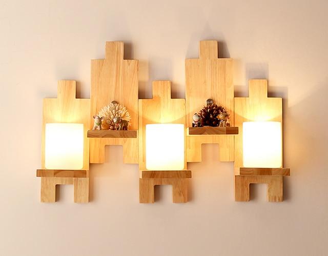 Luci moderna lampada da parete in legno di quercia legno vetro