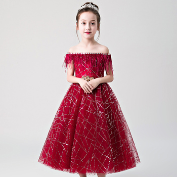 New Girl Wedding Dress Shoulderless Red Tassel Lace First communion Dress For Party Princess Tulle Long Flower Girl Vestidos