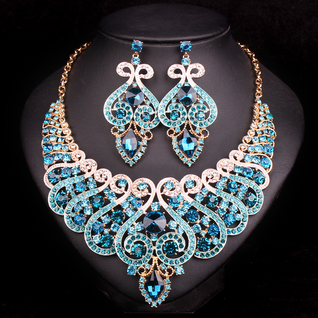 fashion bridal jewelry sets wedding necklace earring for bride party costume accessories indian jewellery sets decorations