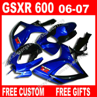 Brand new Fairings for motorcycle SUZUKI 2006 2007 jewelry blue black 7 gift GSXR 600 750 K6 BACARDI GSXR600 GSXR750 set KO92