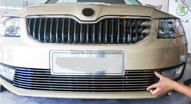 front hood billet grille horizontal style for 2015skoda octavia a7 for audi a7 modified rs7 style front hood center grille grill car styling 2012 2013 2014 2015