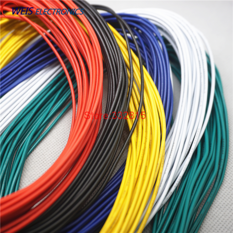 10meters <font><b>UL1007</b></font> # 20 20AWG PVC electronic line cable copper wire 300V 21/0.14TS RED GREEN BLUE WHITE BLACK YELLOW ORANGE PURPLE image